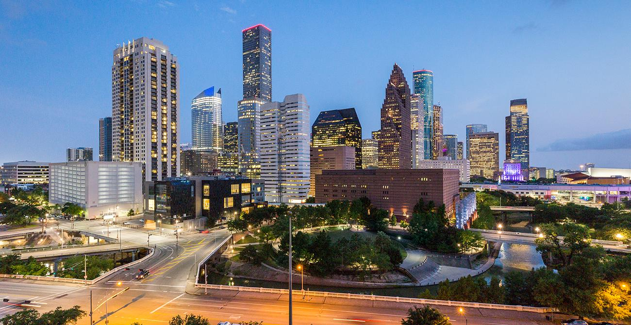 Panoramic views of Downtown Houston from the Rooftop