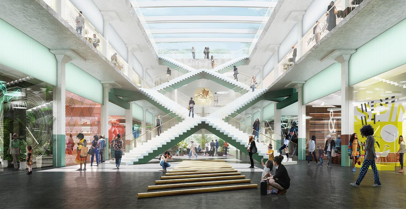 Retail Atrium with X Staircase with experiential shopping exeperiences