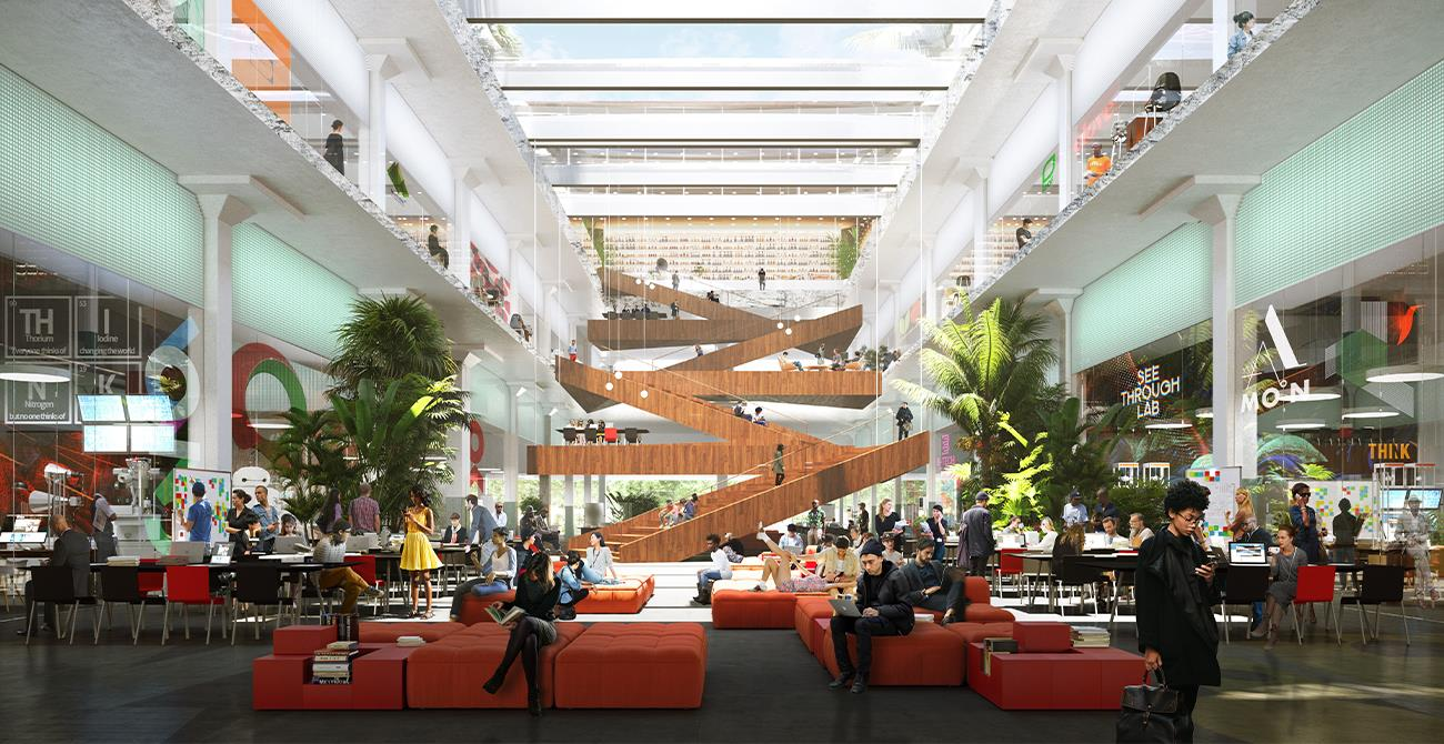 Coworking Atrium with Z Staircase hosting companies large and small